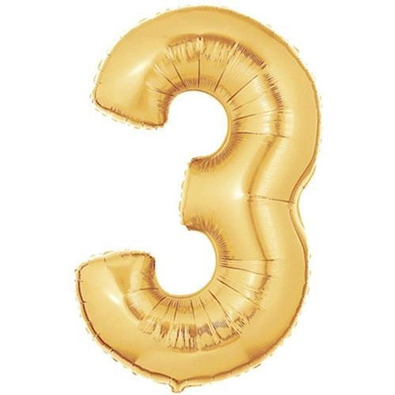 40 Inch Number 3 Foil Balloon Quality Metallic Gold Mylar Etsy Gold Number Balloons Number Balloons Foil Number Balloons