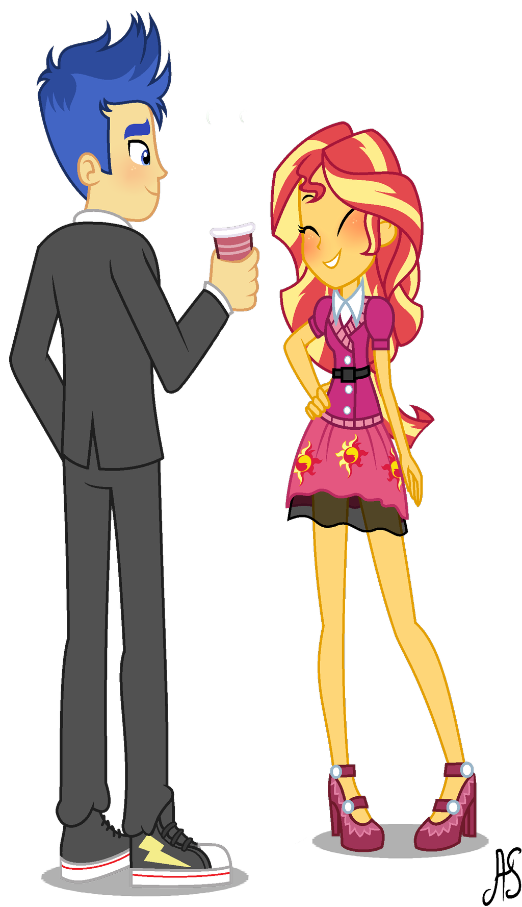 Sunset Shimmer And Flash Sentry Fan Art