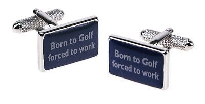 Mens #cufflinks 'born to golf forced to #work' & gift box by onyx art #golfer,  View more on the LINK: http://www.zeppy.io/product/gb/2/291326768734/