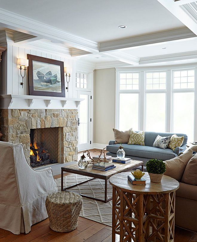 Fireplace Stone Fireplace With Vertical Shiplap Fireplace Stone Is A Custom Blend Of 5 Types Of Stone Fire Home Fireplace Nantucket Style Homes Family Room