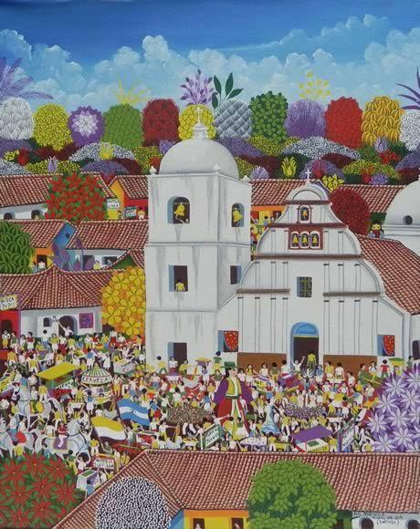 Título:Fiestas Patronales de Subtiaba. Artista:Carlos Marenco Alfaro. Técnica:Oleo sobre Lienzo. Año:2010. Lugar:Masaya.