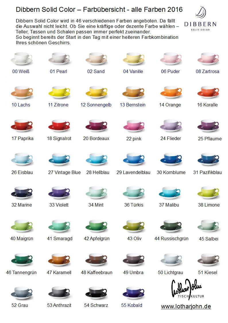 Die neue #Dibbern Solid Color Farbübersicht 2016 zum Download als ...