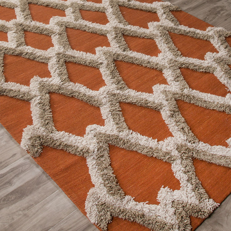 Jaipur National Geographic Home Loras Apricot Orange Flat Weave Wool Rug Jaipur Rugs Flat Weave Wool Rug Area Rugs