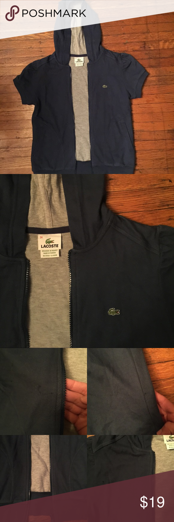 Lacoste hoody Super cute for fall or spring. Light blue. There is some fading on the edges and some loose threading( showed in pics). Size small. Smoke free home. Lacoste Tops Sweatshirts & Hoodies