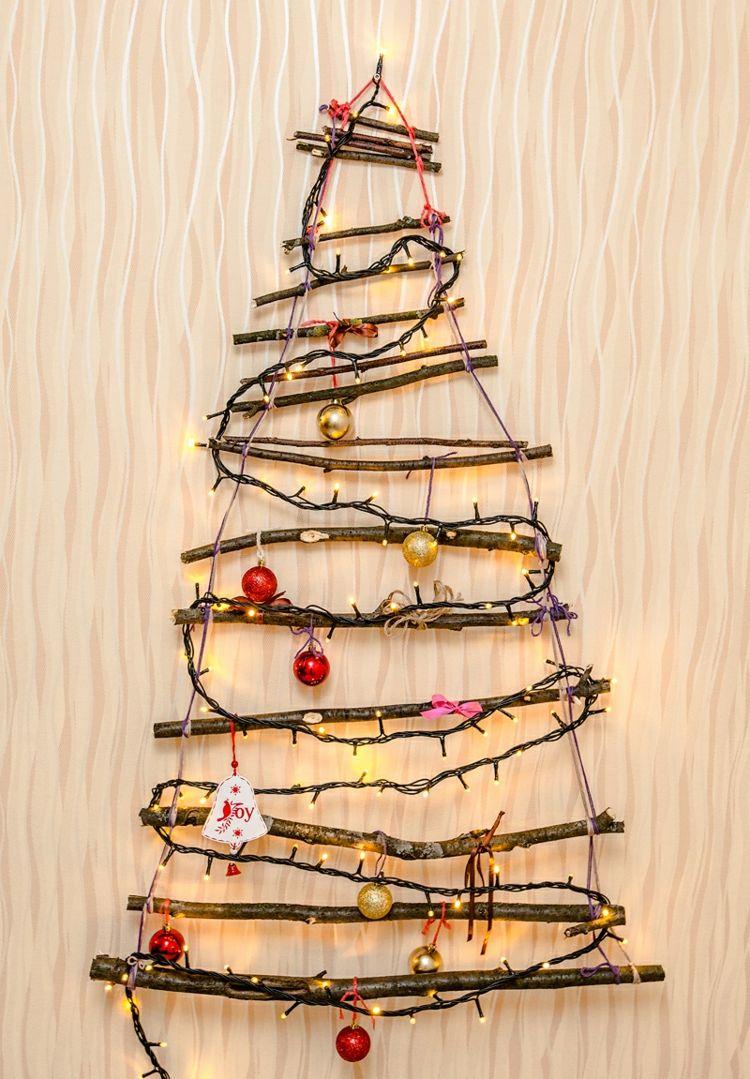Hängender Weihnachtsbaum Aus ästen Basteln 11 Kreative
