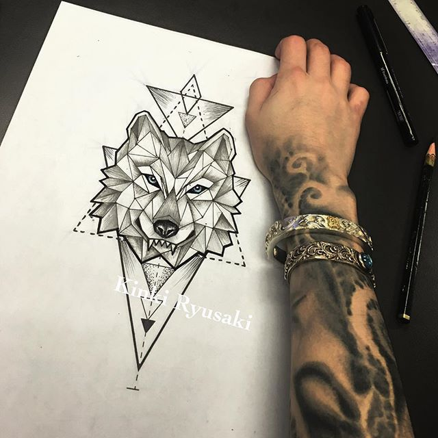 Geometric wolf #tattoo #kinkiryusaki #sketch | tattoos | Pinterest ...