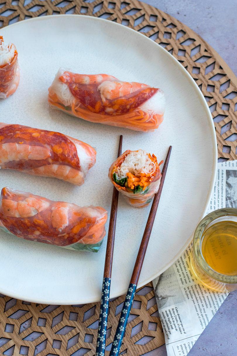Rouleaux de printemps aux crevettes et chorizo