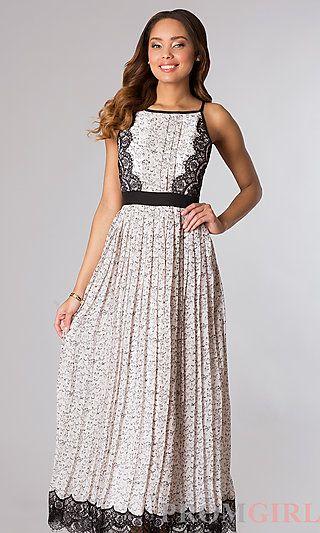 Long Sleeveless Pleated Print Dress at PromGirl.com #dress #maxi #maxidress