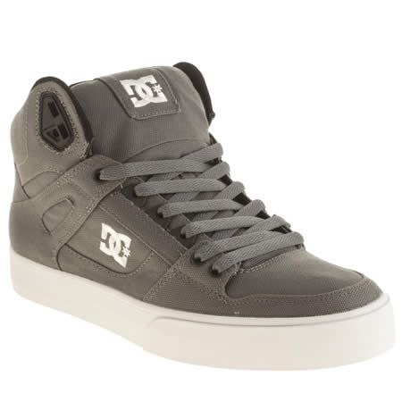 The classic DC Shoes Spartan High WC TX arrives in a cool new canvas  update. The dark grey hi-top features white embroidered branding on the  midsection, ...