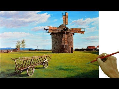 Old Windmill Acrylic Landscape Painting in Time-lapse by JMLisondra#acrylic #jmlisondra #landscape #lapse #painting #timelapse #windmill
