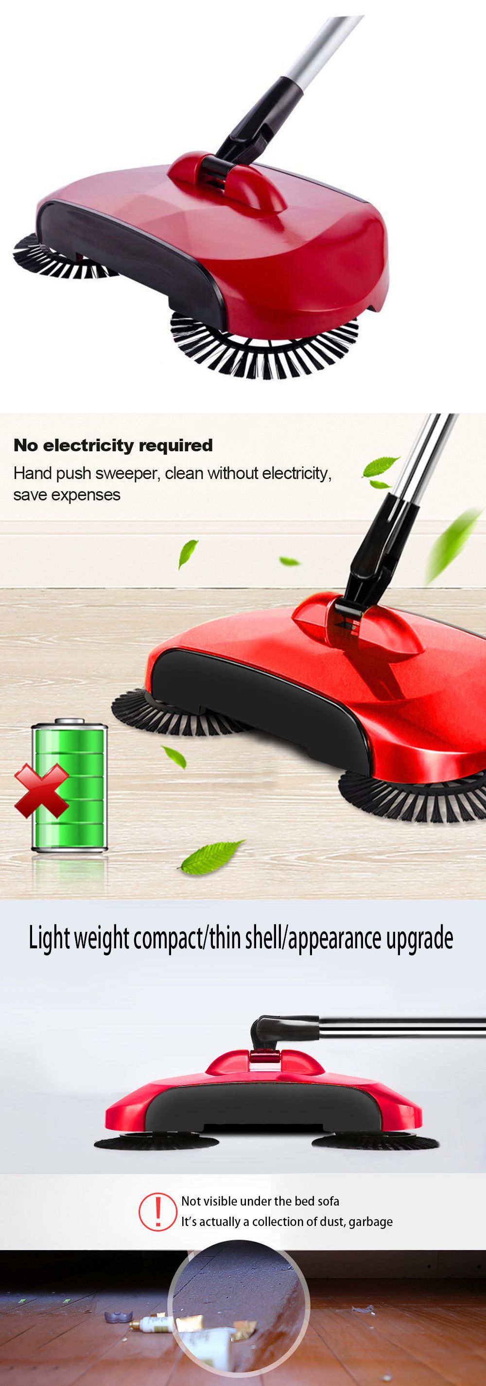 Carpet And Floor Sweepers 79657 Hand Push 360 Rotary Home Use Magic Manual Telescopic Floor Dust Sweeper Fedex Buy It Now O Floor Sweepers Flooring Rotary