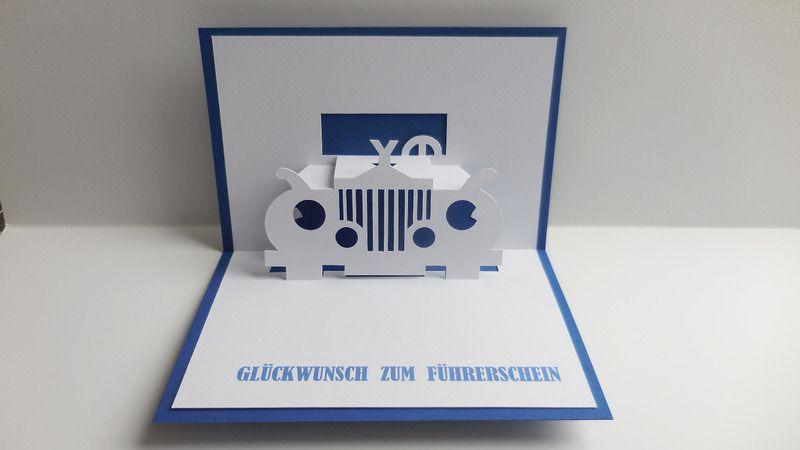 Pop-Up-Karten - Pop up Karte - Gutschein zum Führerschein - ein Designerstück von Bastel-Preussin bei DaWanda
