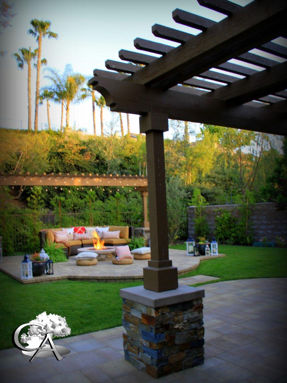 Pilaster, Pavers, Patio Cover, Outdoor Sitting, Fire Pit, Café Lights  Landscape