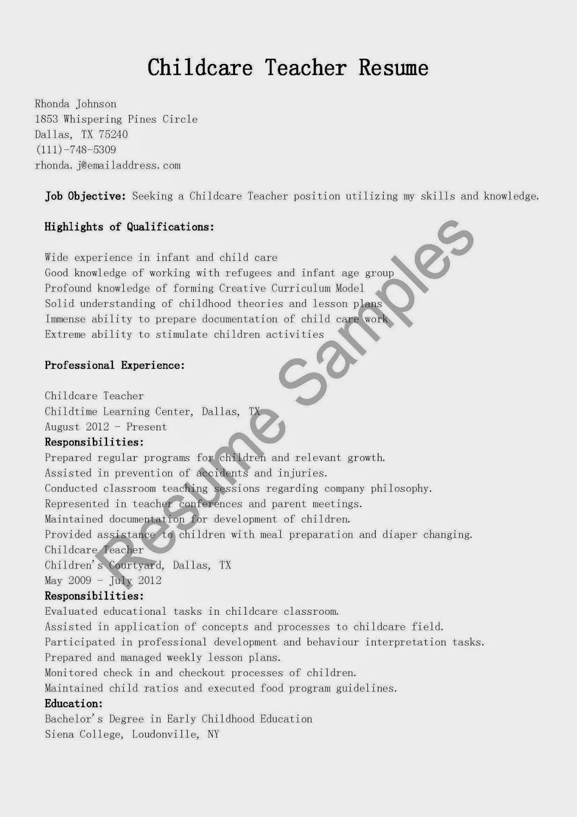 Child Care Resume Samples Example Provider Worker Examples  Home