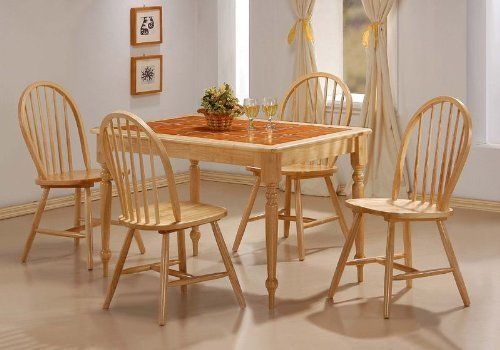 Natural Finish Tile Top Dining Room Set Table Chairs By Coaster Home Furnishings 41656 Finished Wood Framed Oval Features Terracotta