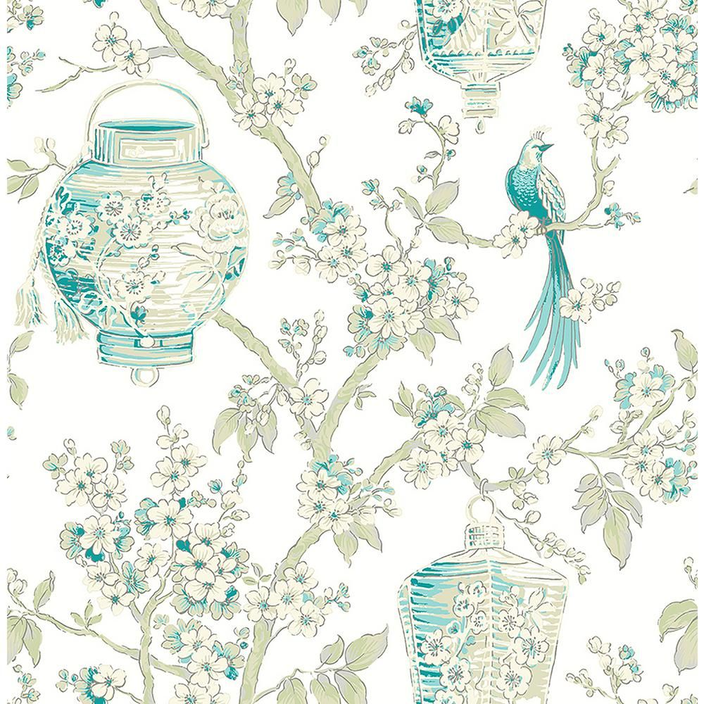 Serenity Teal Blue Lanterns Wallpaper Sample