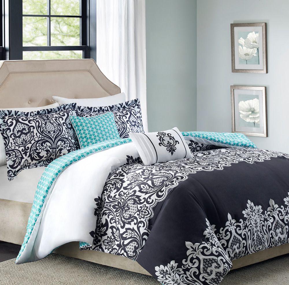Black White Aqua Damask Comforter Set 5 Piece Full Queen Reversible Bedding Bhgbedding Contemporarymoroccan