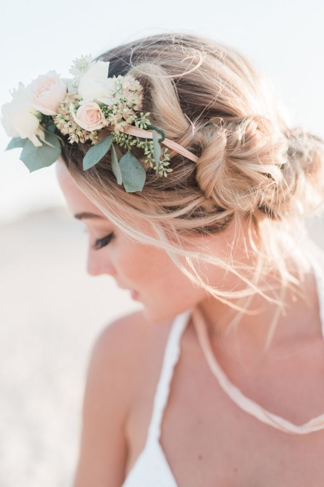 563fb7c80d Elegant and Rustic Beachy Boho Wedding Ideas Inspired By The Sea  #WeddingHairAndMakeup Bridal hair with florals