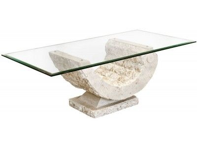 Febland C Coffee Table Carved Stone Base With A Tempered Gl Top 215 00