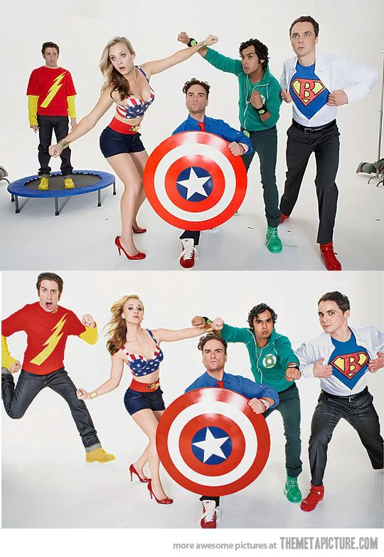 NO! You do not mix marvel and DC! Captain America shield... But not the Avengers?! It's the Justice League without Batman?!!!!! Wrong! All wrong! (even though batman leaves the justice league in the movie Doom). However, I love The Big Bang Theory! :)