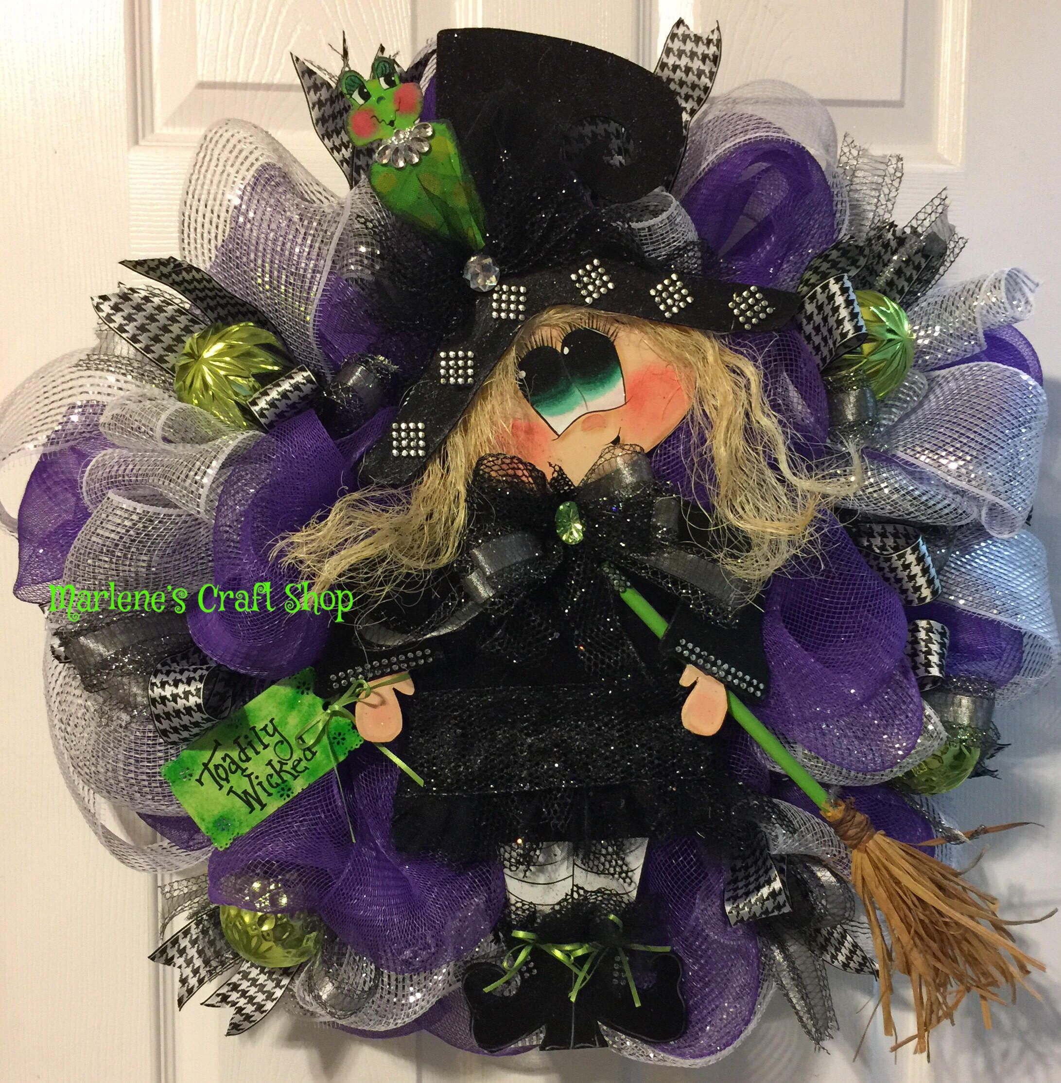 Halloween Witch Wreath, Halloween Wreath, Witch Door Hanger, Witch Hat