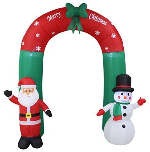 8 Foot Tall Lighted Christmas Inflatable Santa and Snowman Best
