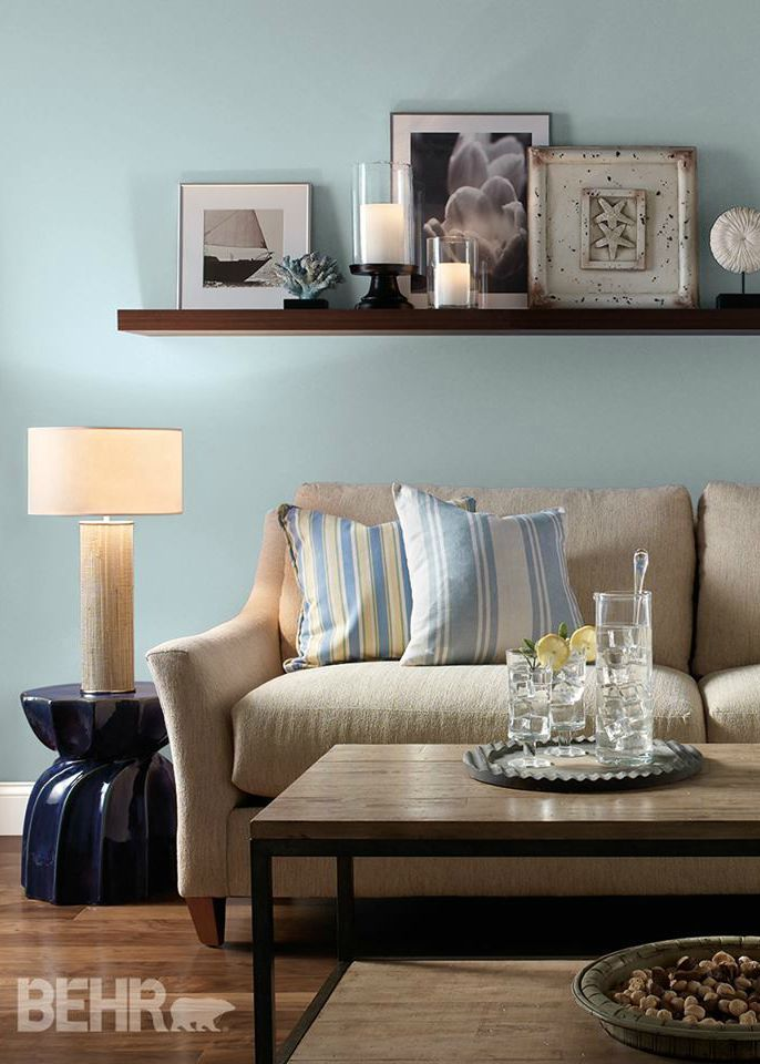 Find out how this watery blue color from behr will look in your family room or bedroom by for Colour designs for living room
