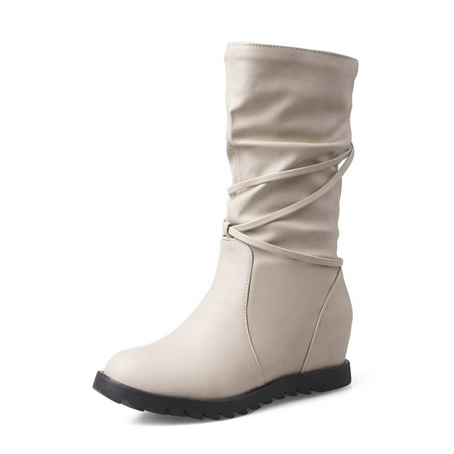 Allhqfashion Women S Mid Top Pull On Soft Material Kitten Heels Round Closed Toe Boots Save This Wonderf Kitten Heel Boots Boots Boot Shoes Women