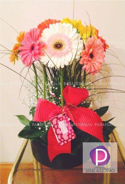 Arreglo Floral Gerberas De Colores Manualidades
