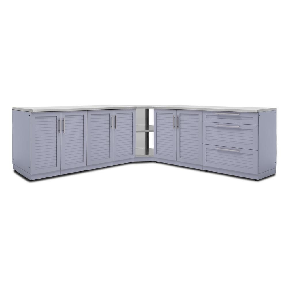 Newage Products Coastal Gray 7 Piece 128 In W X 36 5 In H X 24 In D Outdoor Kitchen Cabinet Set With Countertops 65515 The Home Depot Outdoor Kitchen Cabinets Kitchen Set Cabinet Refacing Kitchen Cabinets