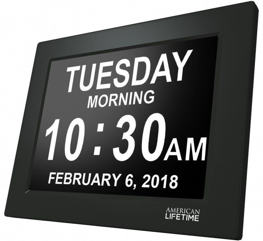 Johnziny Digital Calendar Day Clock- 8 Alarms Alzheimer Memory Loss, Dementia