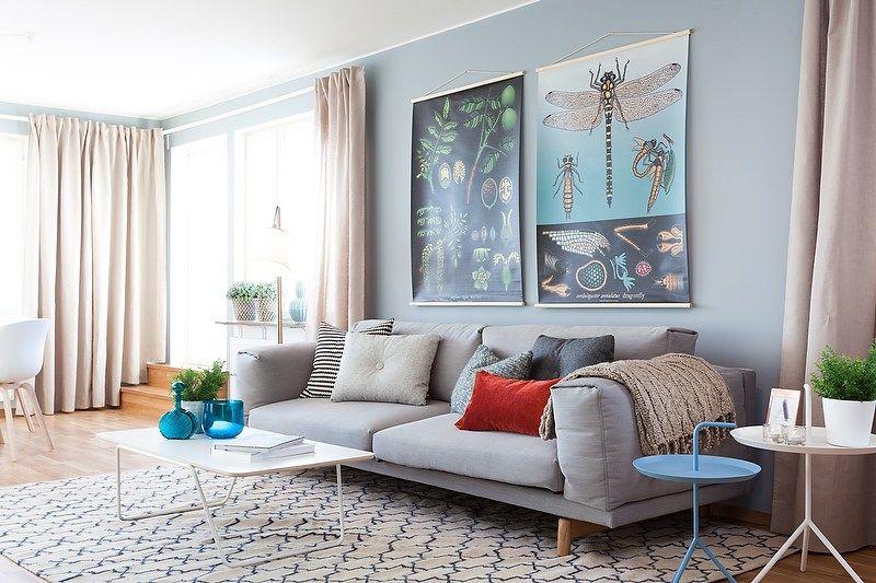 Estilo escandinavo en azul grisáceo y madera natural | Interiores de ...