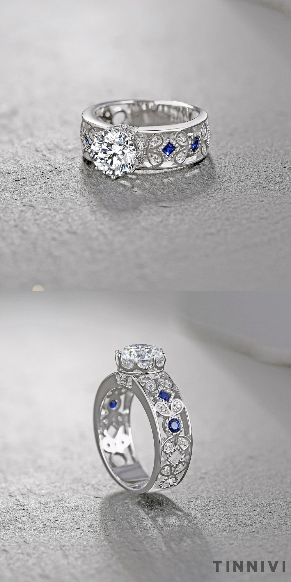 Tinnivi Round Cut Sterling Silver Created White Sapphire and