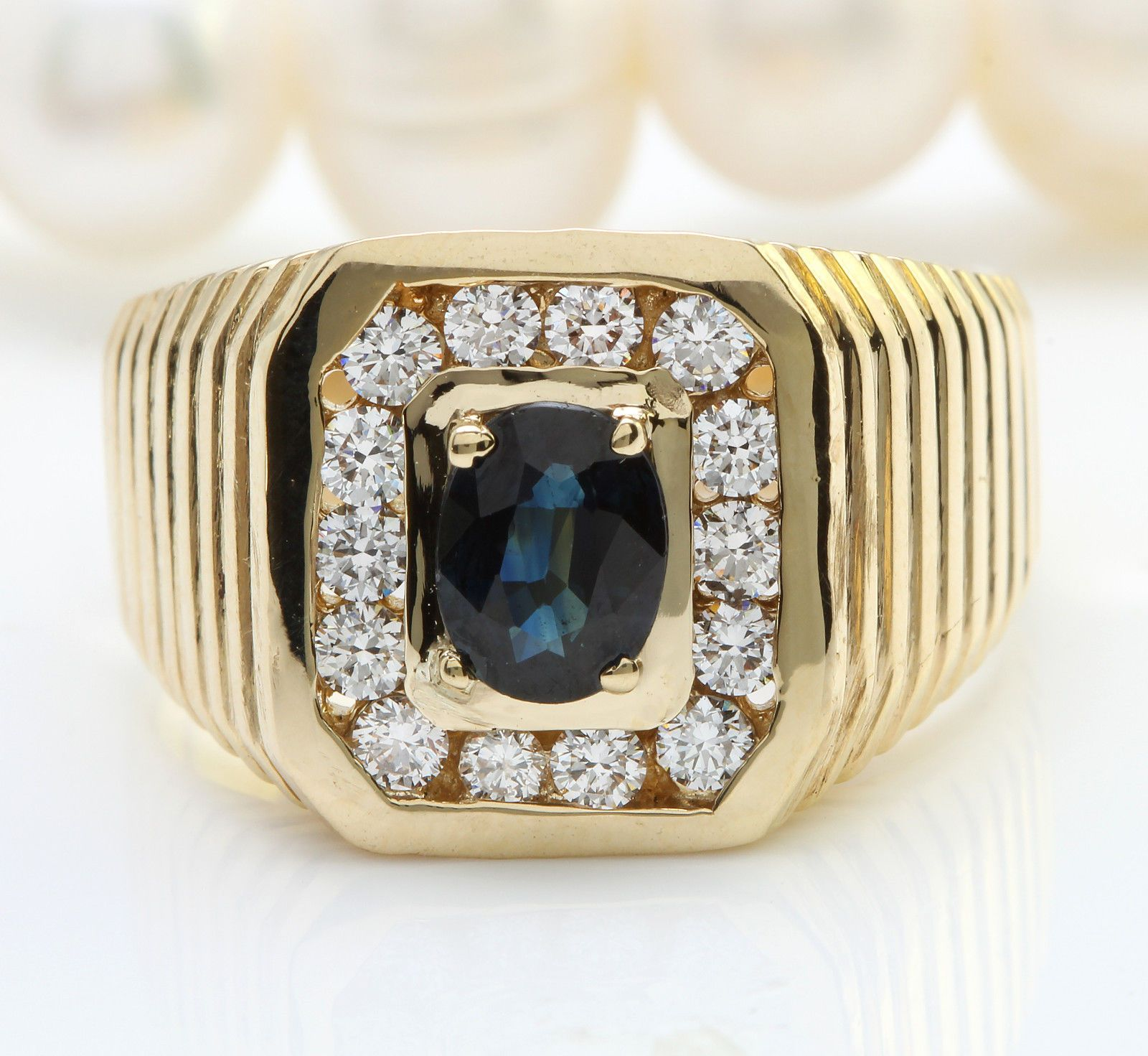 2 00CTW Natural Blue Sapphire and DIAMOND in 14K Yellow Gold Men