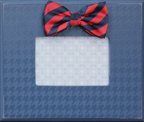 navy houndstooth bow tie frame for 4x6 photo by AveQcollection ...