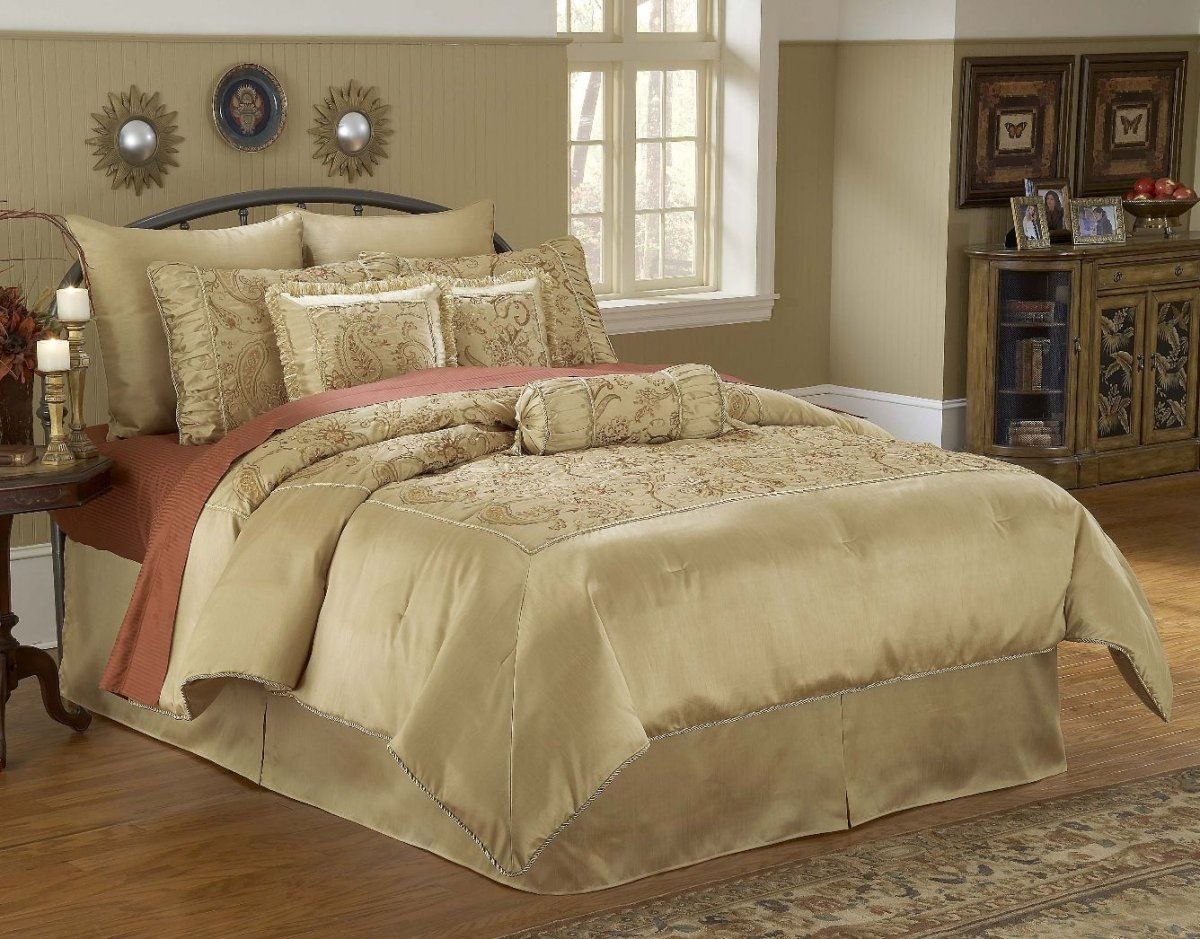 cool modern bedroom with luxury comforter sets cream color