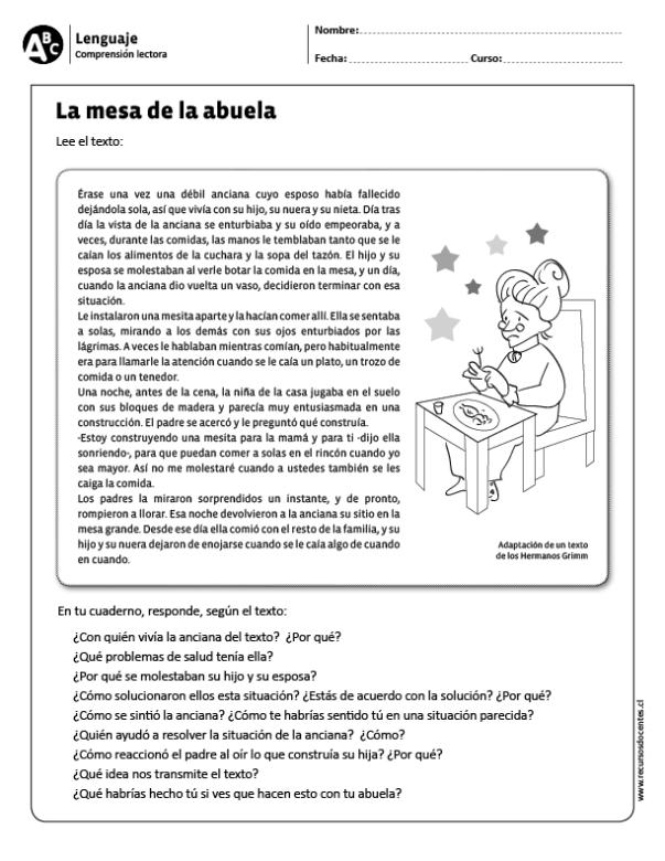 La Mesa De La Abuela  Sólo Para Niños  Comprensión Lectora, Comprensión Lectora Primaria Y