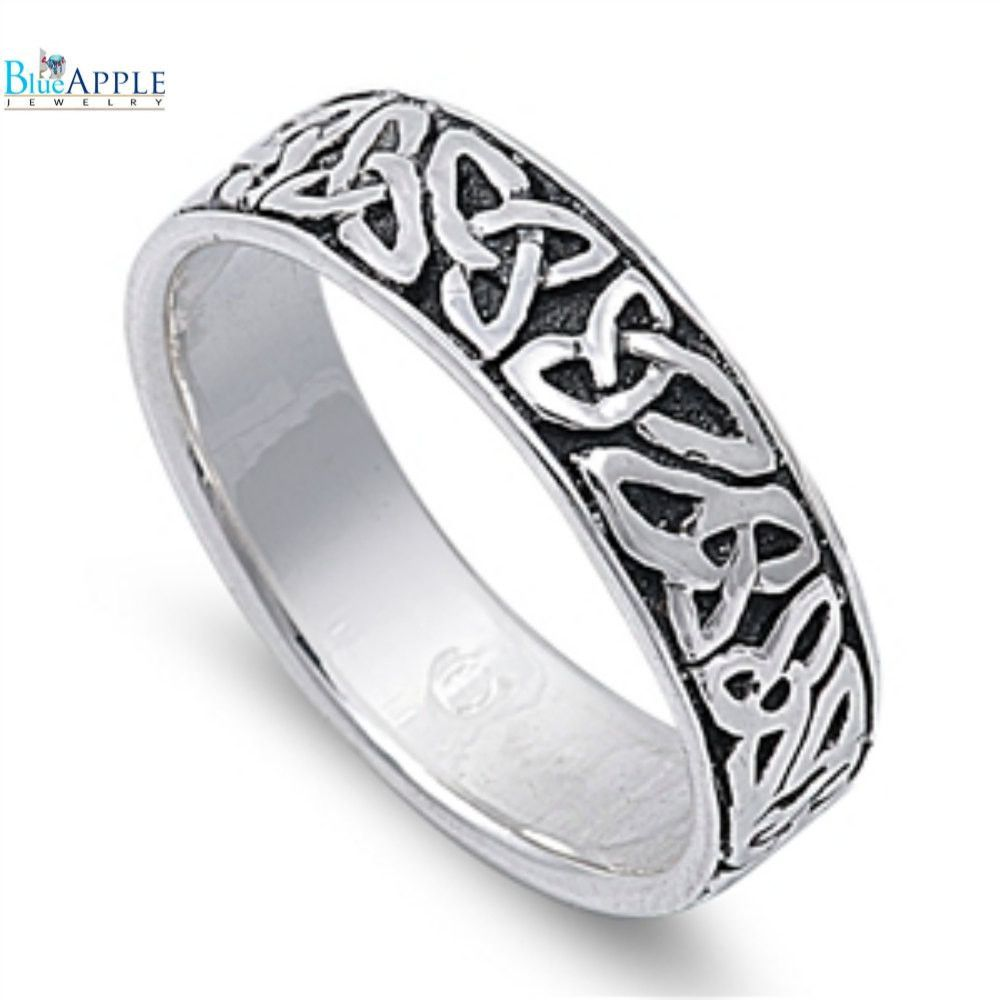 925 Sterling Silver Celtic Trinity Knot Unisex Wedding Band Ring - 6mm Width 2K8v29