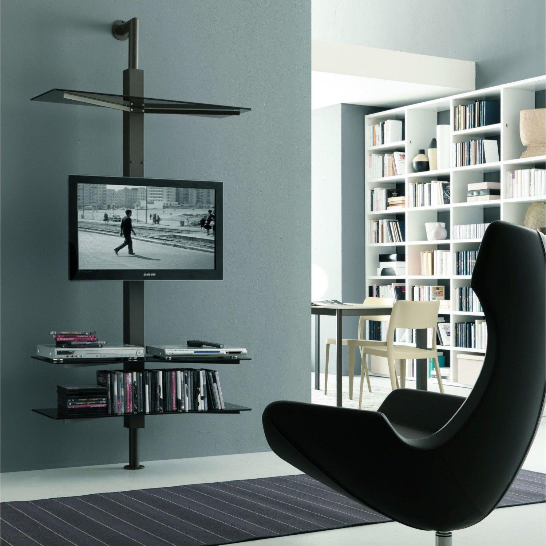 Porta TV orientabile Kino con mensole in cristallo a parete ...