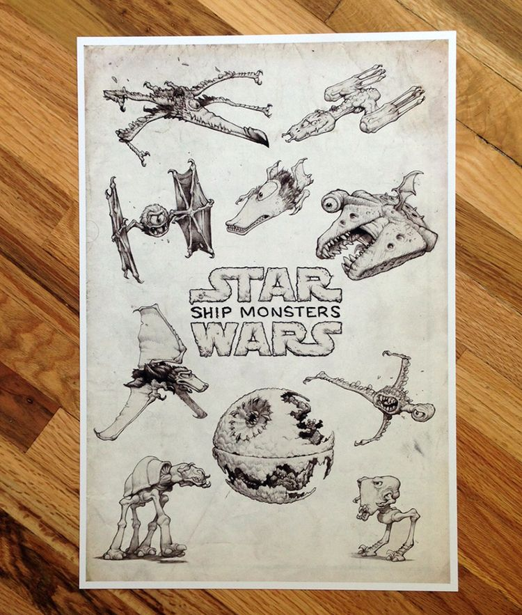 An Art Print Featuring Star Wars Spacecraft And Vehicles That Are