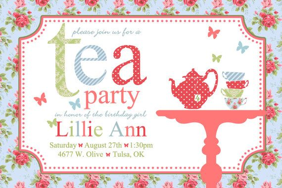 Printable Shabby Chic Tea Party Birthday Invitations Digital Tea Party Invitations Tea Party Invitation Free Party Invitations