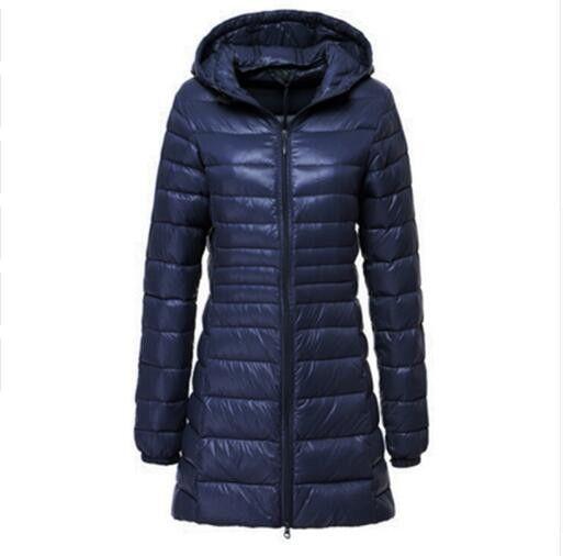 HIJKLNL 2017 Winter Women Duck Downs Jacket Coat Slim Parkas Ladies Coat Long Hooded Plus Size 6 XL Ultra Light Outerwear LJ4236