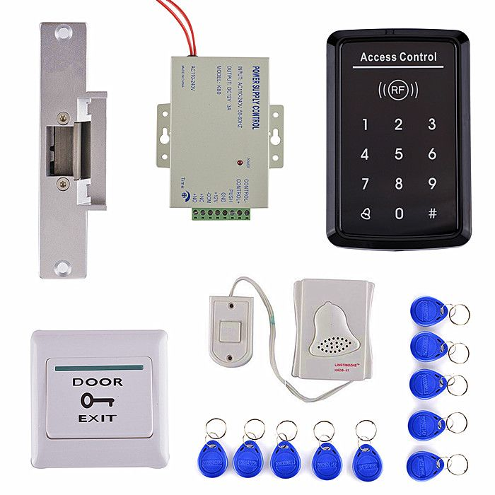 Electric Bolt Door Lock Touch Keypad Door Access Control Kit Special Power Supply 10 Rfid Card Access Control Door Switch Security System