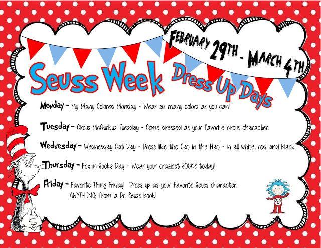 Seuss Week Dress Up Days Freebie Dr Seuss Week Dr Seuss Classroom Spirit Day Ideas