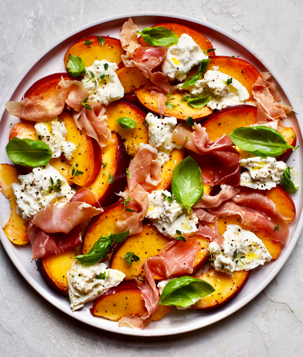 Photo of Fresh Peach, Burrata and Proscuitto Salad — The Daley Plate