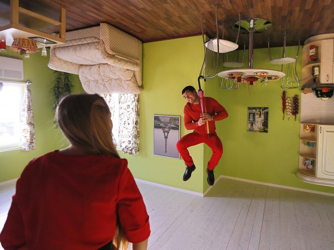 Exhibition Stand Design Moscow : Inside of the upside down house in szymbark poland