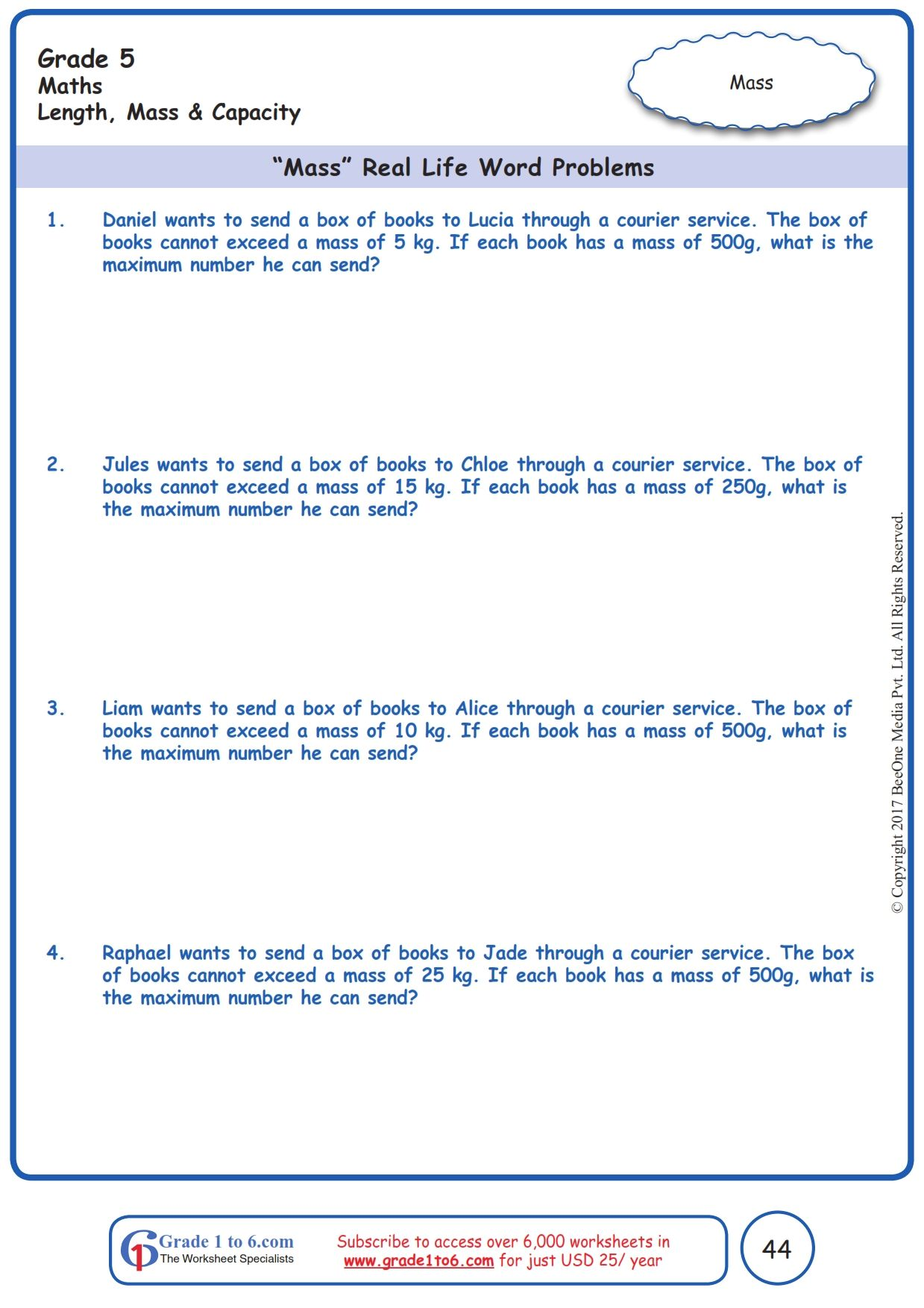 Worksheet Grade 5 Math Mass Real Life Word Problems In