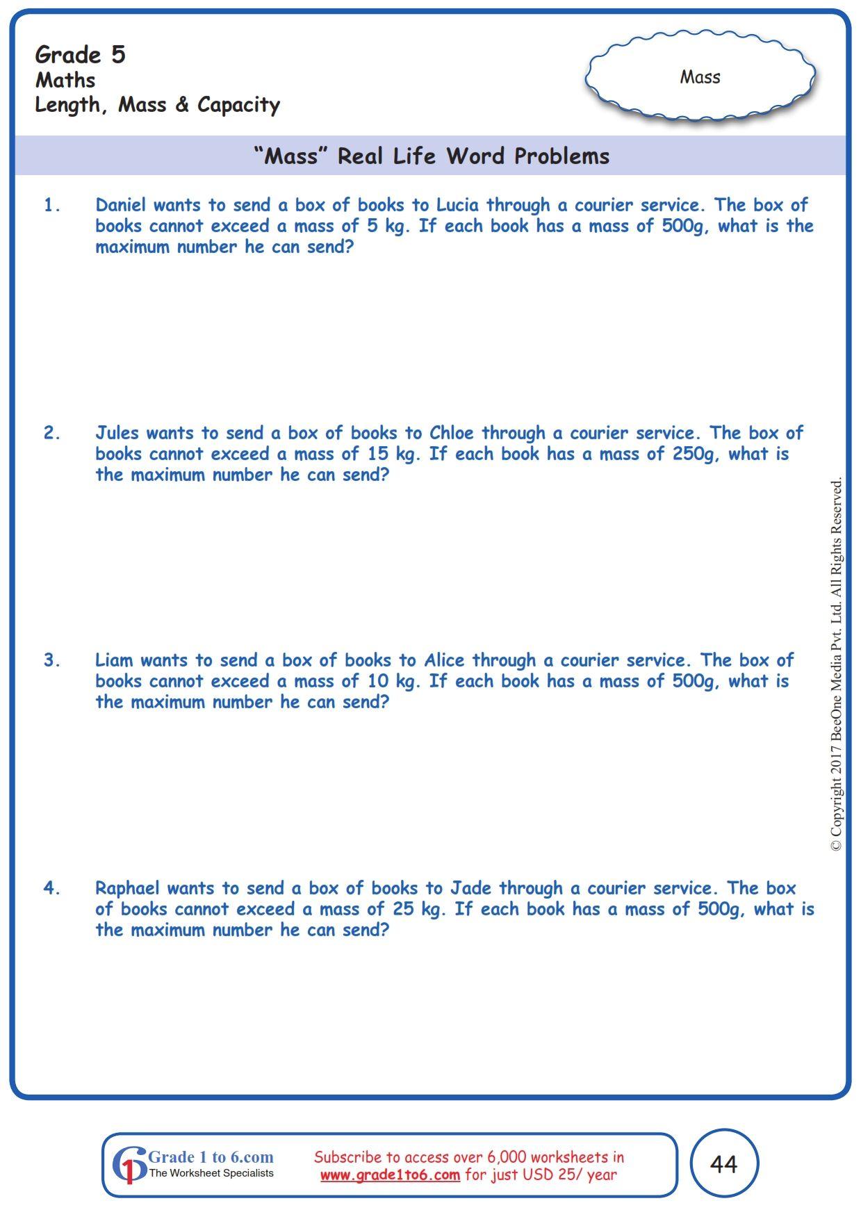 Worksheet Grade 5 Math Mass Real Life Word Problems In 2020 Word Problems Grade 5 Math Worksheets Free Math Worksheets