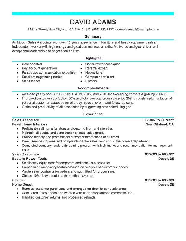 Sales Associate Resume Sample Sales Resume Examples Sales Resume Resume Examples