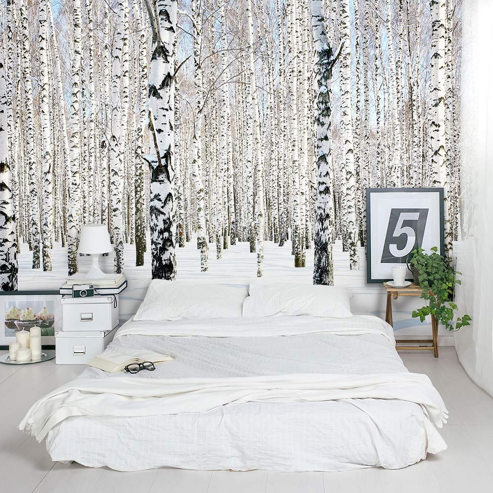 Snow Dense Winter Birch Tree Forest Wall Mural Tree wall
